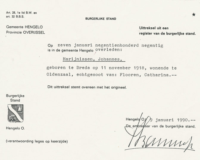 Certified extract of death record of Johannes Marijnissen