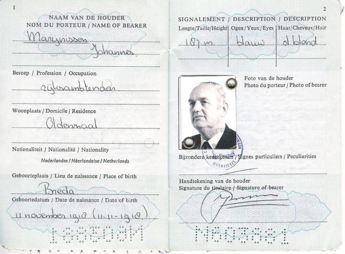 Passport of Jan Marijnissen