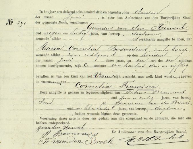 Birth record of Cornelia Francisca van den Heuvel