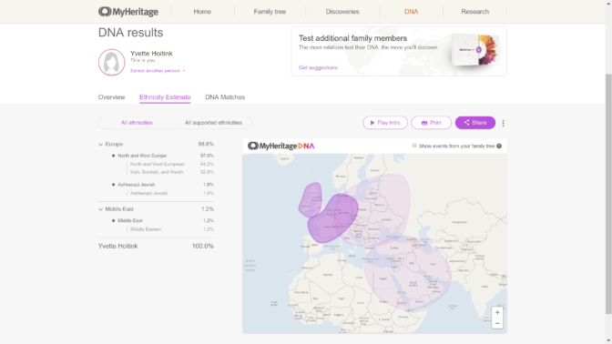 MyHeritage ethnicity predictions