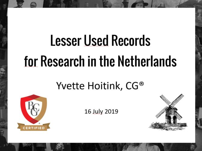 Title slide: Lesser Used Sources for Research in the Netherlands
